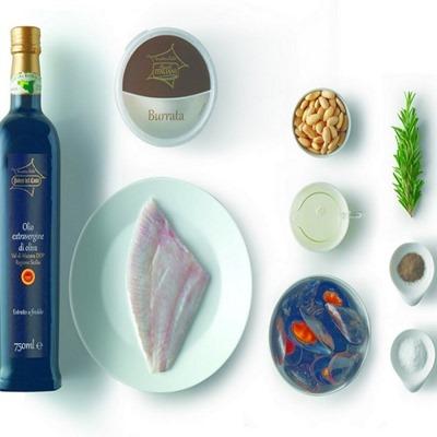 ingredienti_rombo farcito di burrata e cozze alla salsa di mandorle